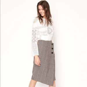 BA&SH Jupe Pernille — houndstooth wool midi skirt
